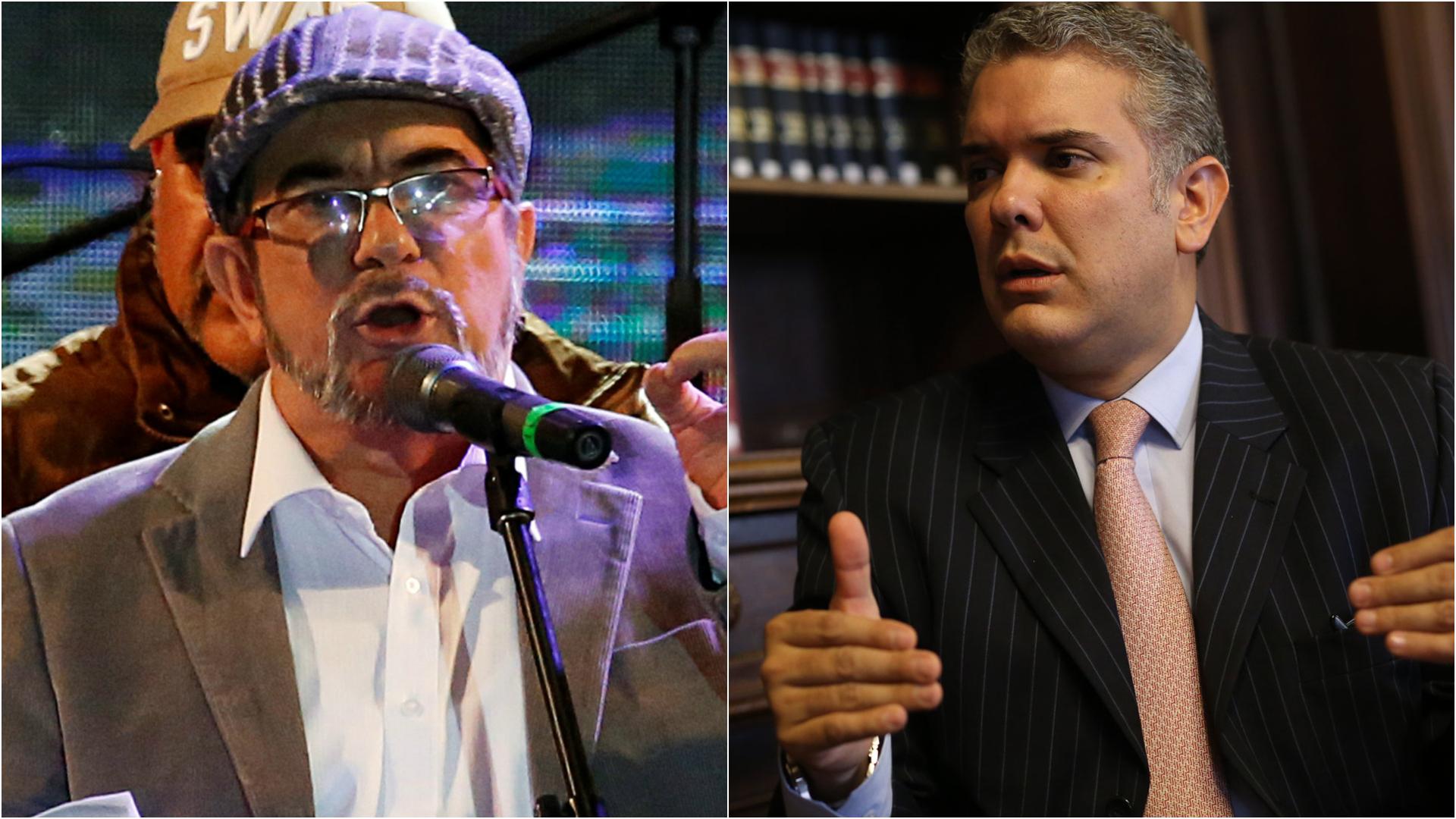 El líder de las FARC Timochenko y el presidente electo de Colombia Iván Duque